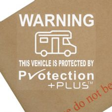 Campervan Protected By Protection Plus-Sticker,Vinyl,Sign,Security,Warning,Notice,GPS,Fake,Tracking